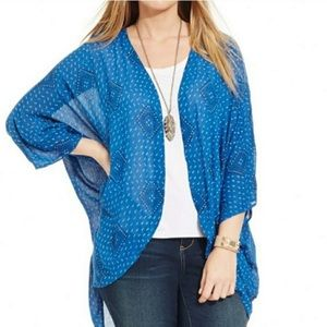 Lucky Brand Blue and White Patterned Kimono/Duster